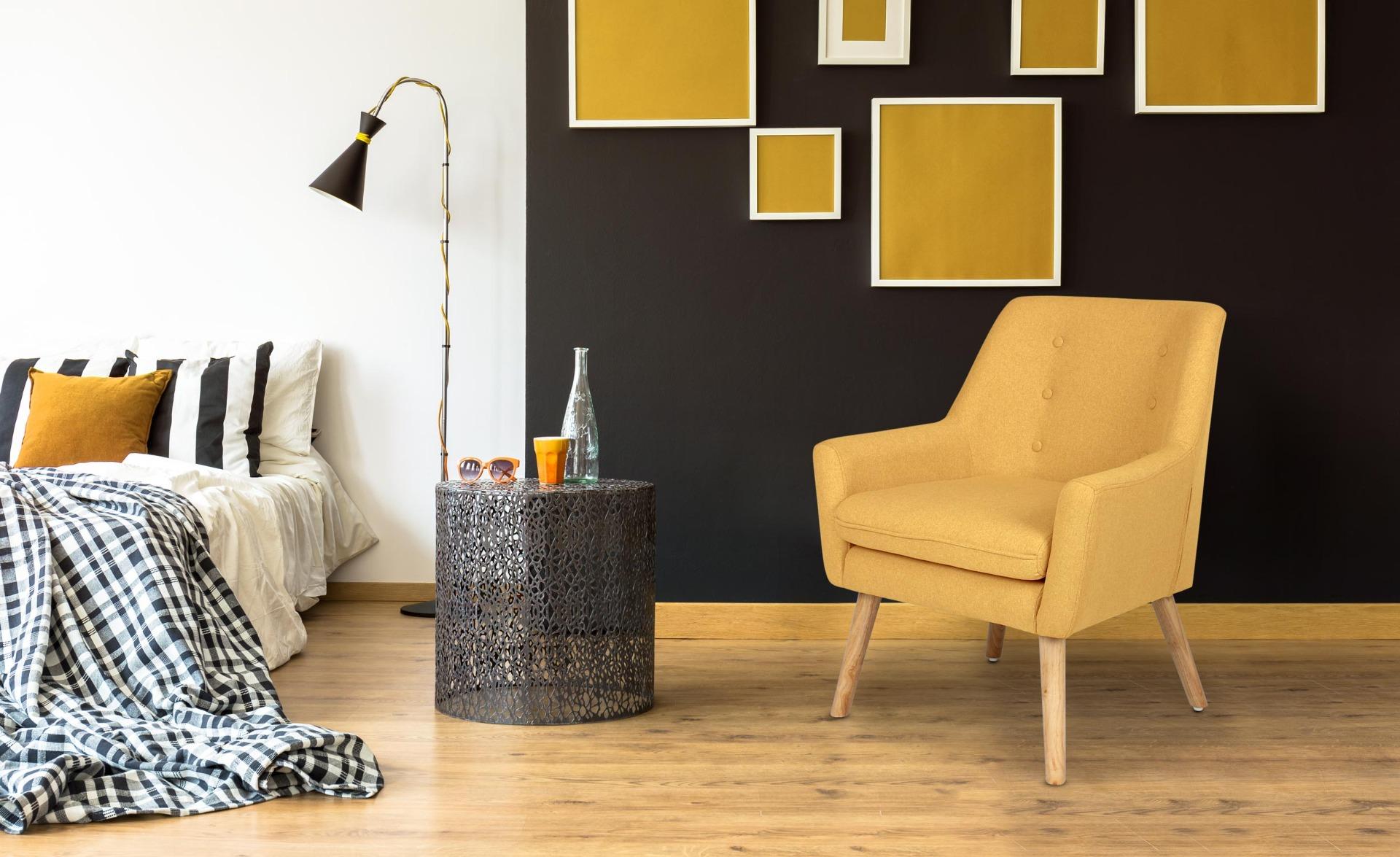 Scandinavische Gustav fauteuil gele stof