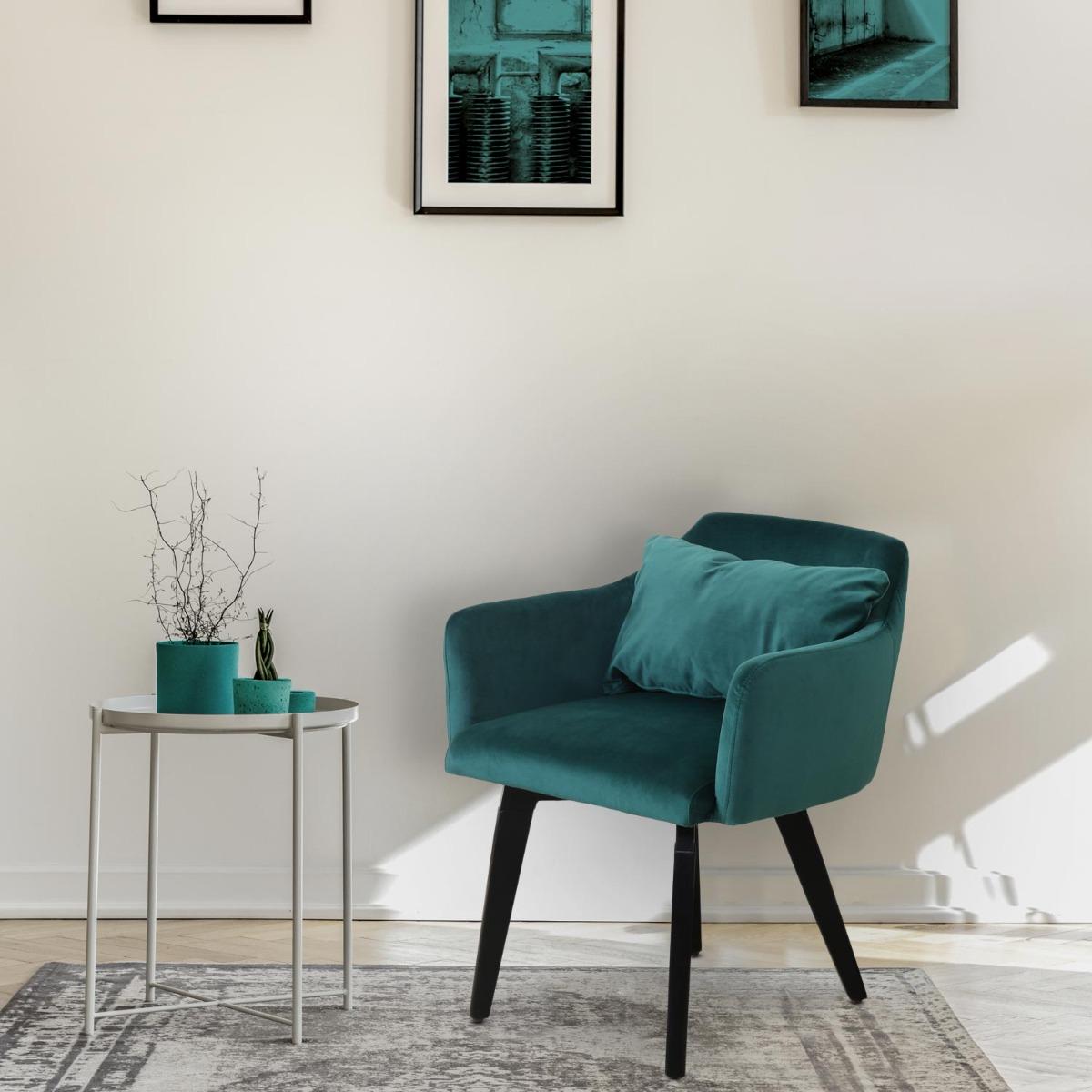 Set van 2 Gybson Groen Velvet Scandinavische fauteuils