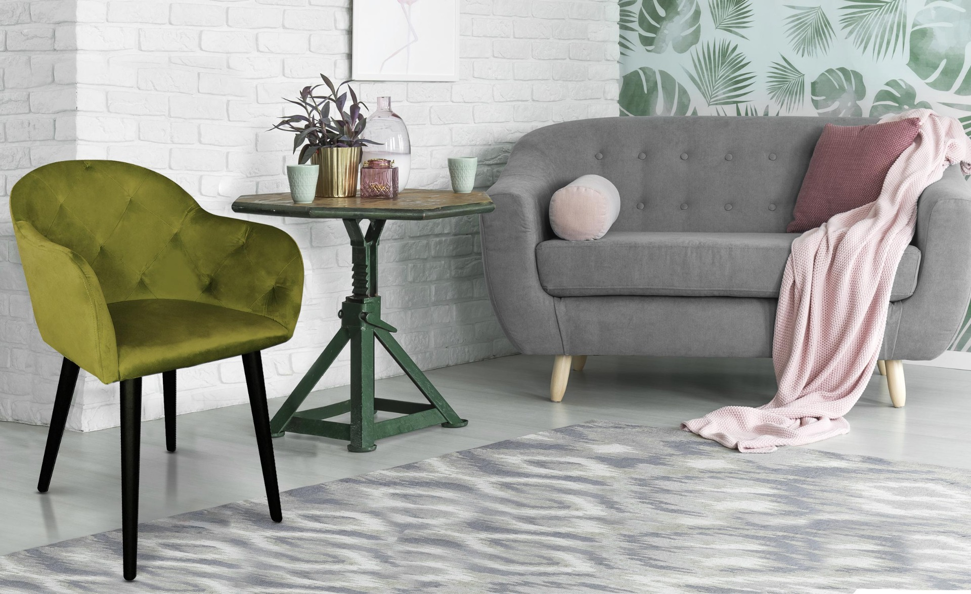 Honorine stoel / fauteuil kaki fluweel
