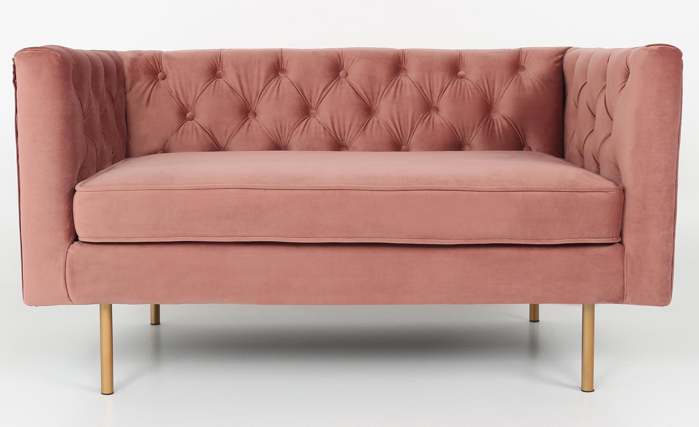 Tweezitsbank Sacha roze fluweel