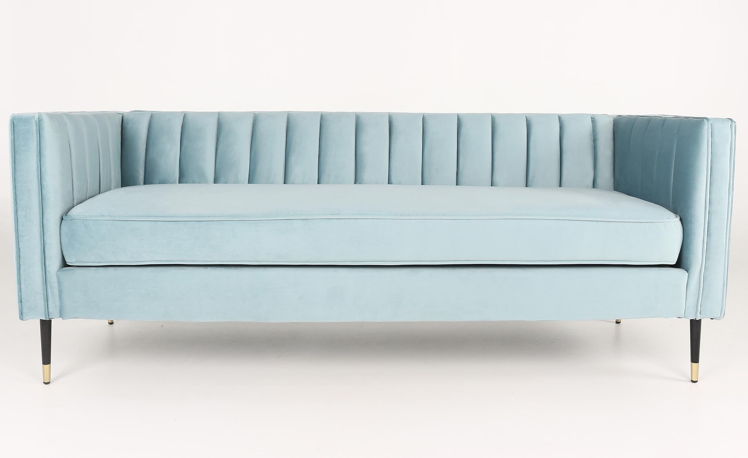 Djulian 3-zitsbank van blauw fluweel
