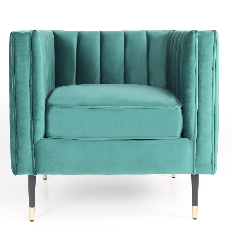 Djulian fauteuil van groen fluweel