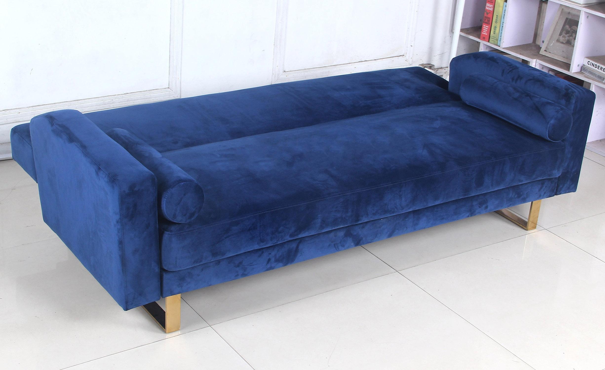 Djobi slaapbank bank blauw fluweel gouden voet