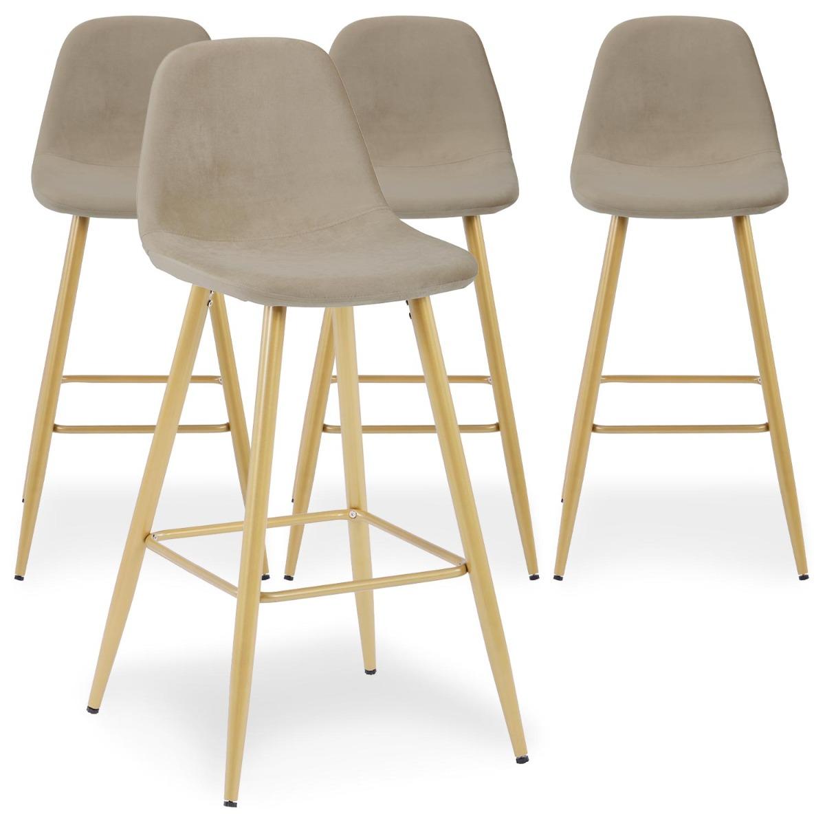 Lot de 4 chaises de bar Jody Velours Taupe pieds Or