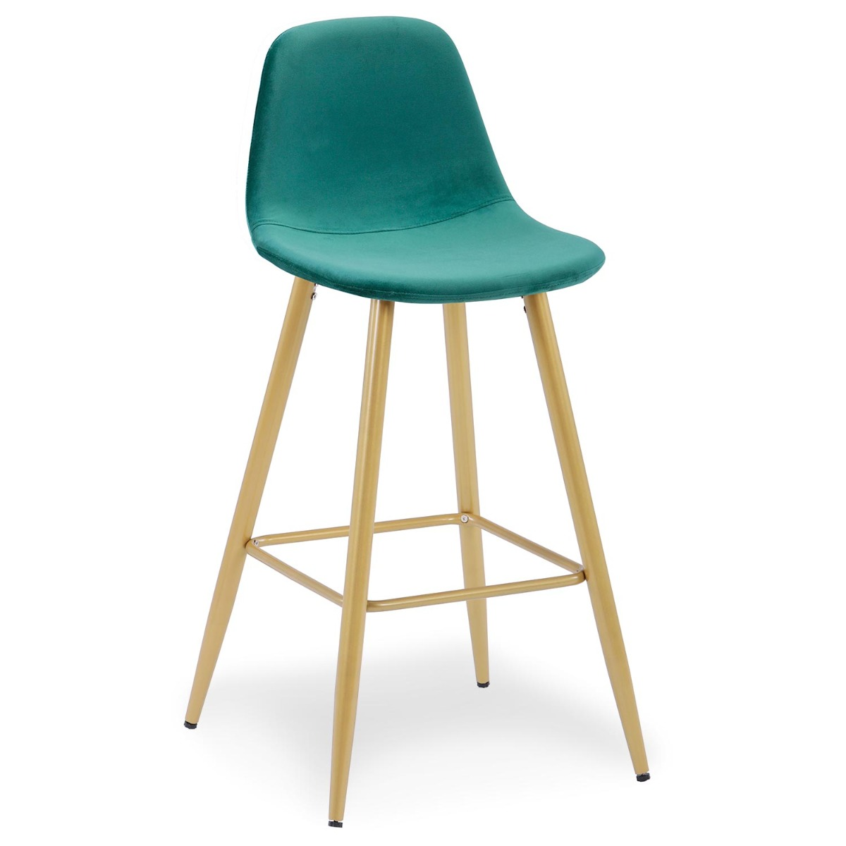 Set van 4 Jody Green Velvet Barstoelen met gouden poten
