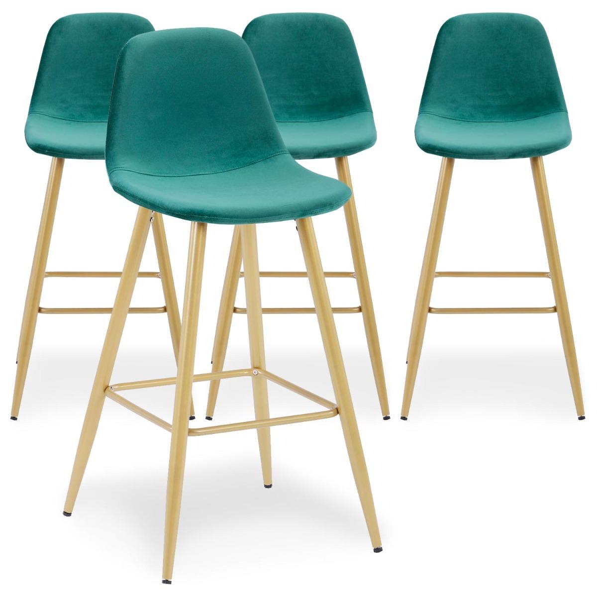 Lot de 4 chaises de bar Jody Velours Noir pieds Or