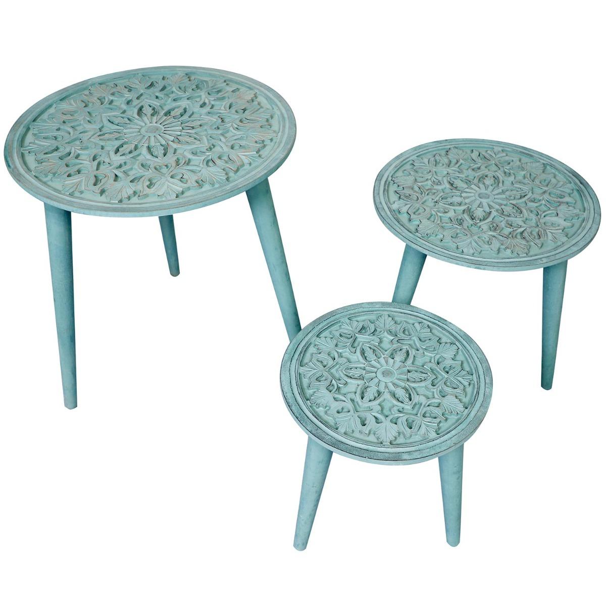Ensemble de 3 tables gigogne Kairouan Bleu-Vert