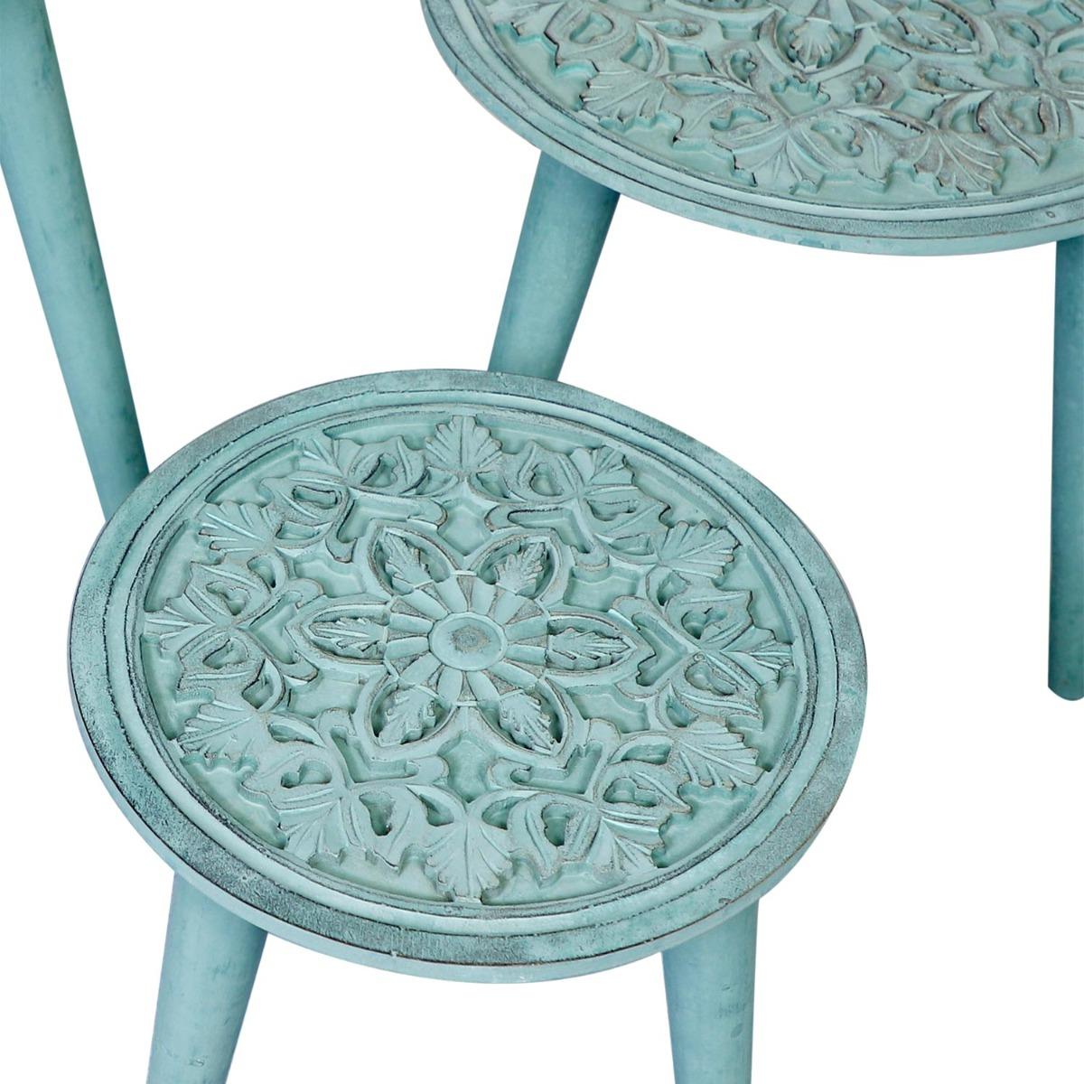 Set van 3 Kairouan blauwgroene bijzettafels