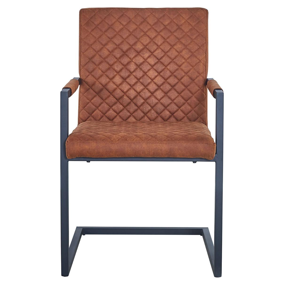 Set van 2 Kansas gewatteerde stoelen in verouderde bruine stof