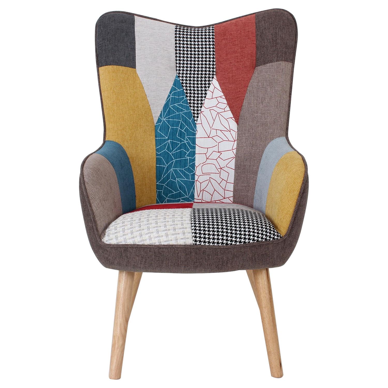 Scandinavische Klarys stoffen patchwork fauteuil