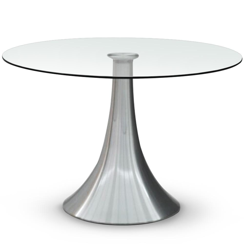 Table ronde Equinox avec pied en métal brossé
