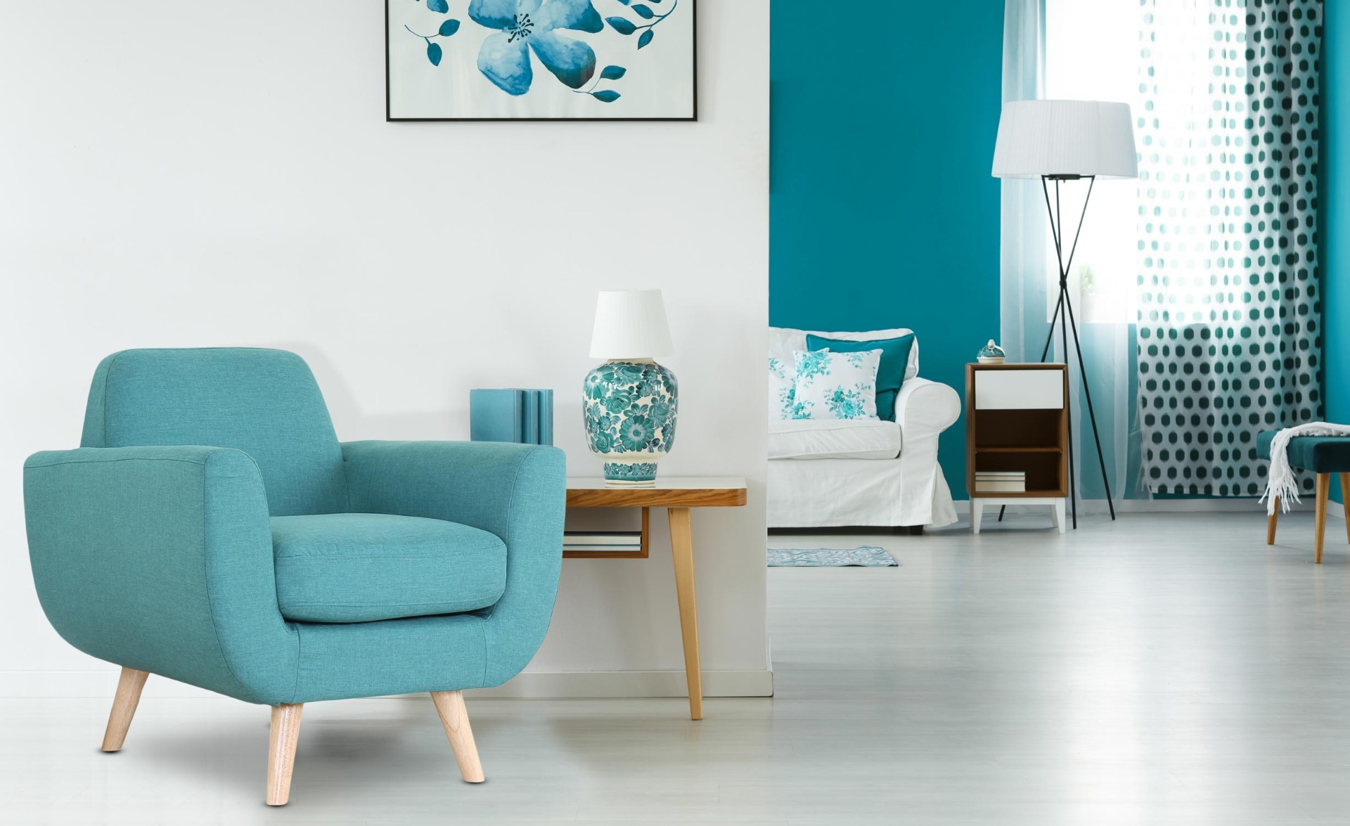 Scandinavische Donau fauteuil blauwgroene stof
