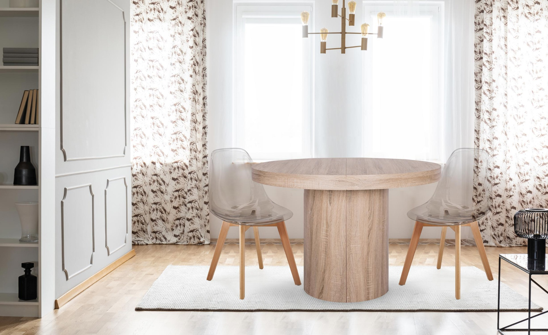 Set van 4 Scandinavische Larry transparante plexi stoelen