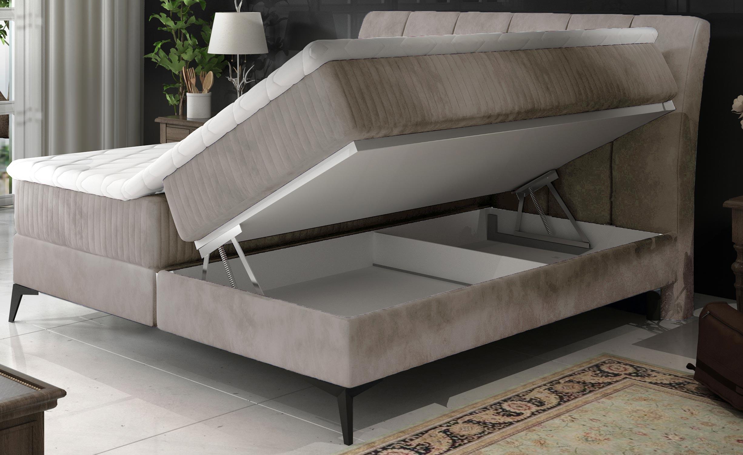 Aderito bed met opbergruimte 140 cm grijsbeige fluweel