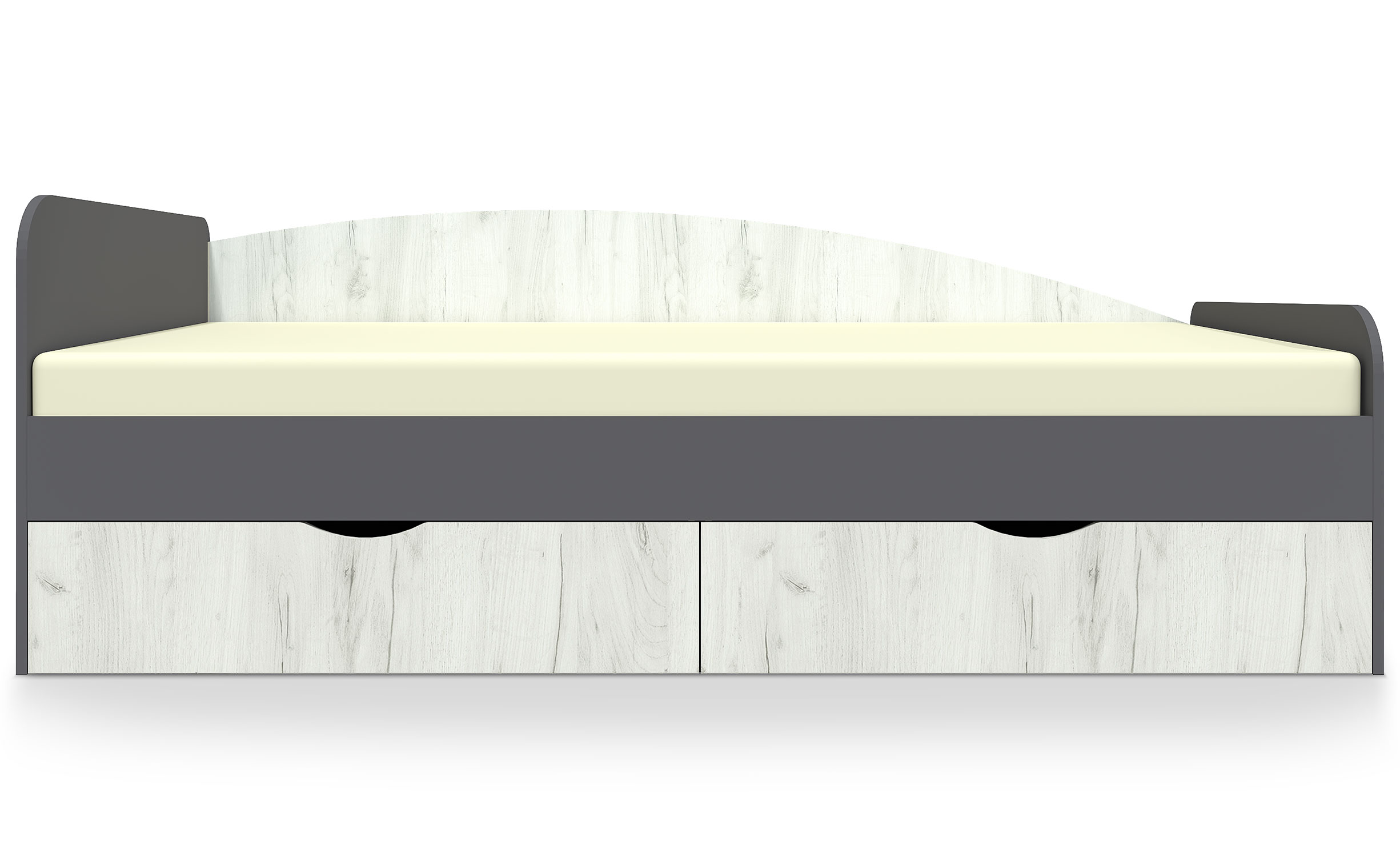 Caradec kinderbed 90x200cm grijs en licht hout