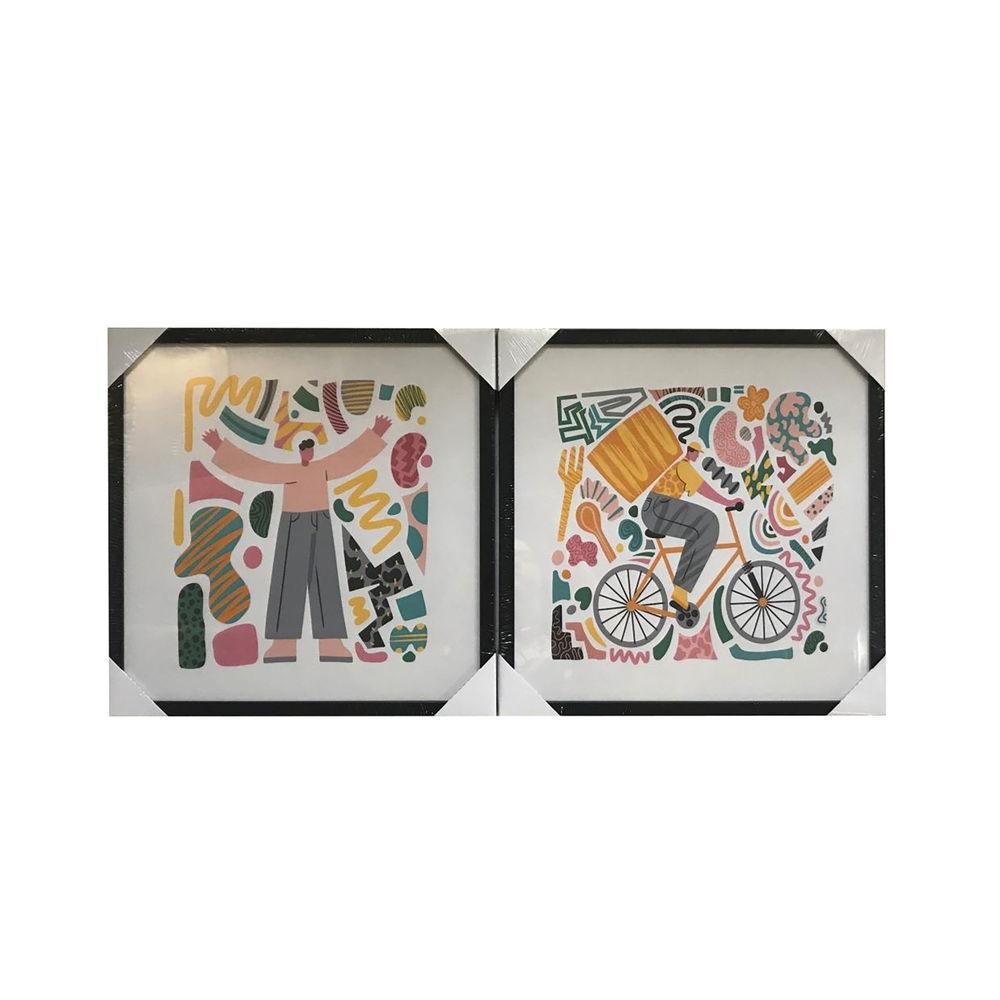 Lot de 2 cadres de toiles Worker 40x40cm Style Pop art Multicolore