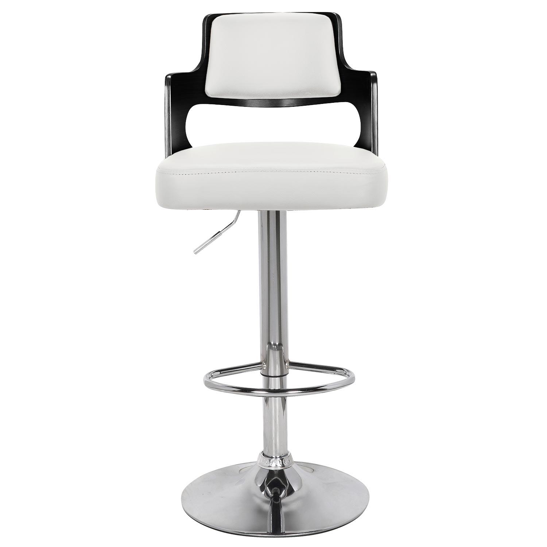 Set van 2 Russel Barstoelen Zwart Hout & Wit Faux