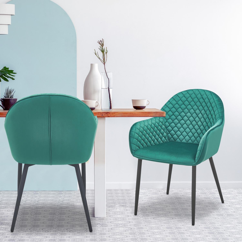 Set van 2 Erika fluwelen groene stoelen