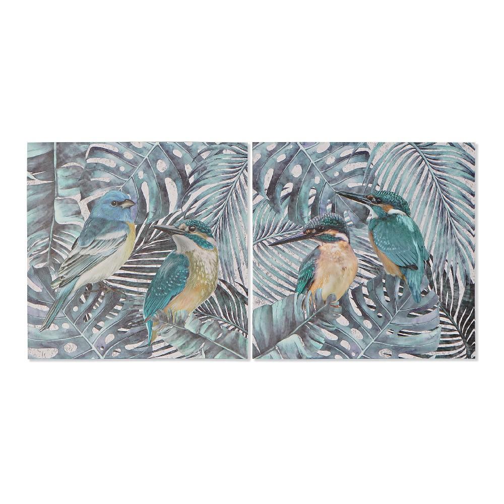 Lot de 2 toiles Kingfisher 40x40cm Vert et Jaune Oiseaux
