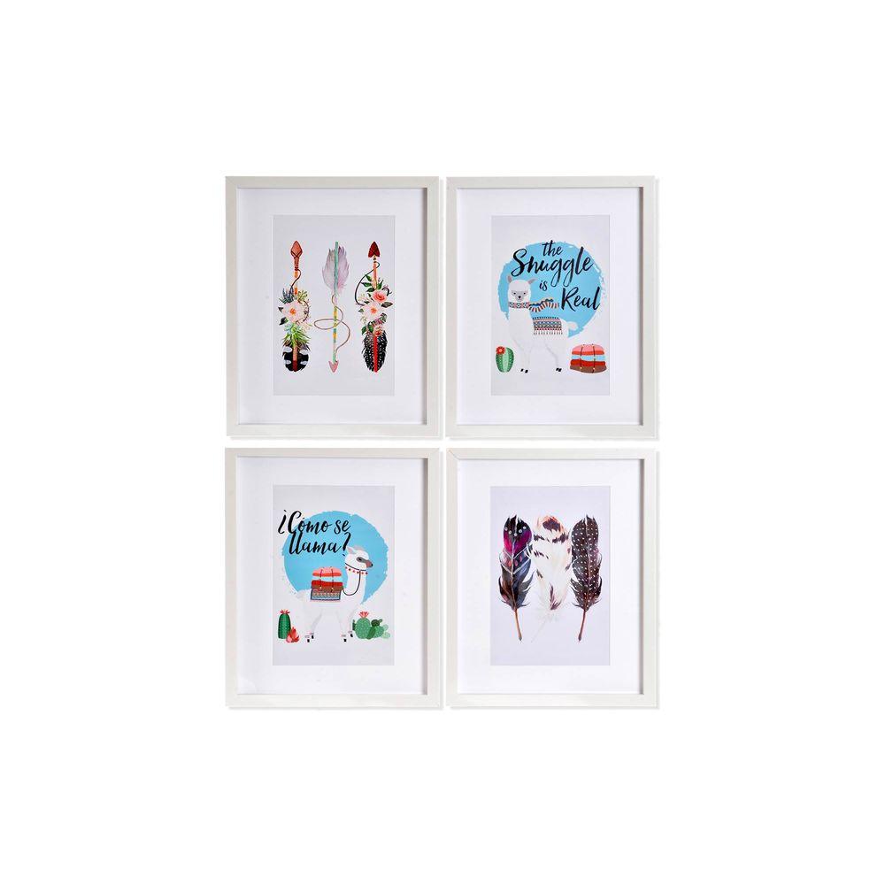 Lot de 4 cadres affiches Fantasia 35x45cm Style Boho Multicolore