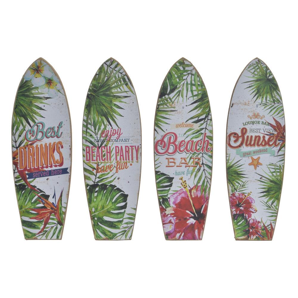 Lot de 4 cadres d'affiches Estate 7x22cm Motif Tropical Multicolore