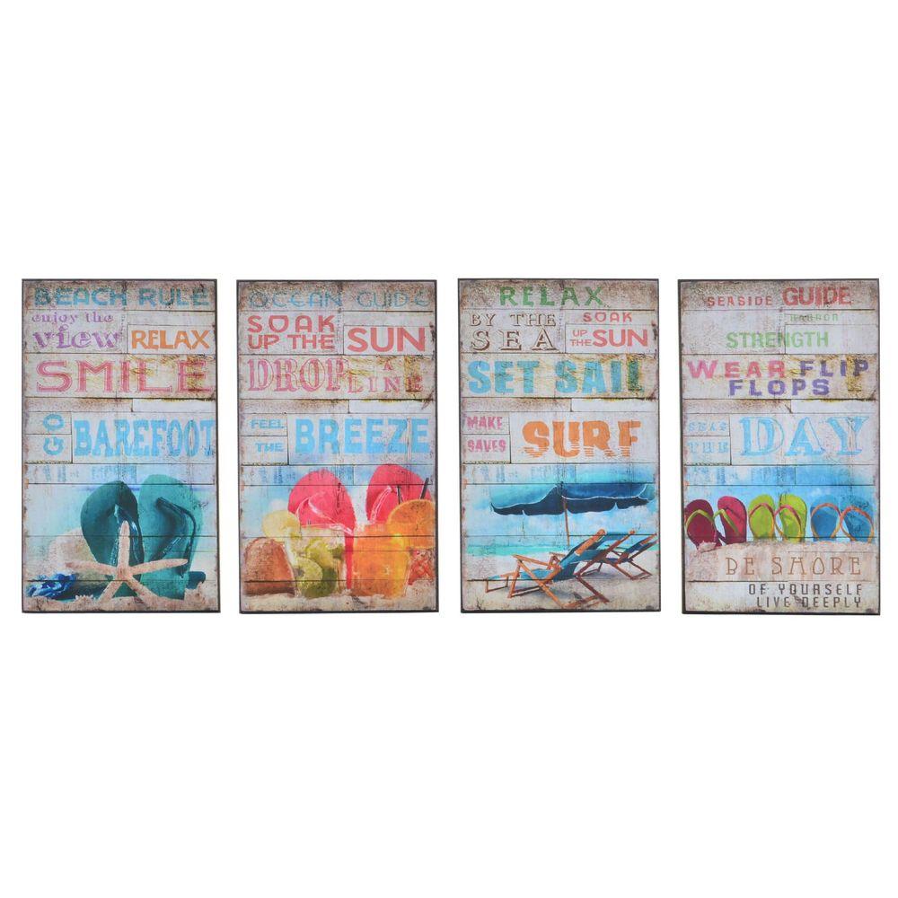 Lot de 4 cadres d'affiches Summer 15x25cm Multicolore