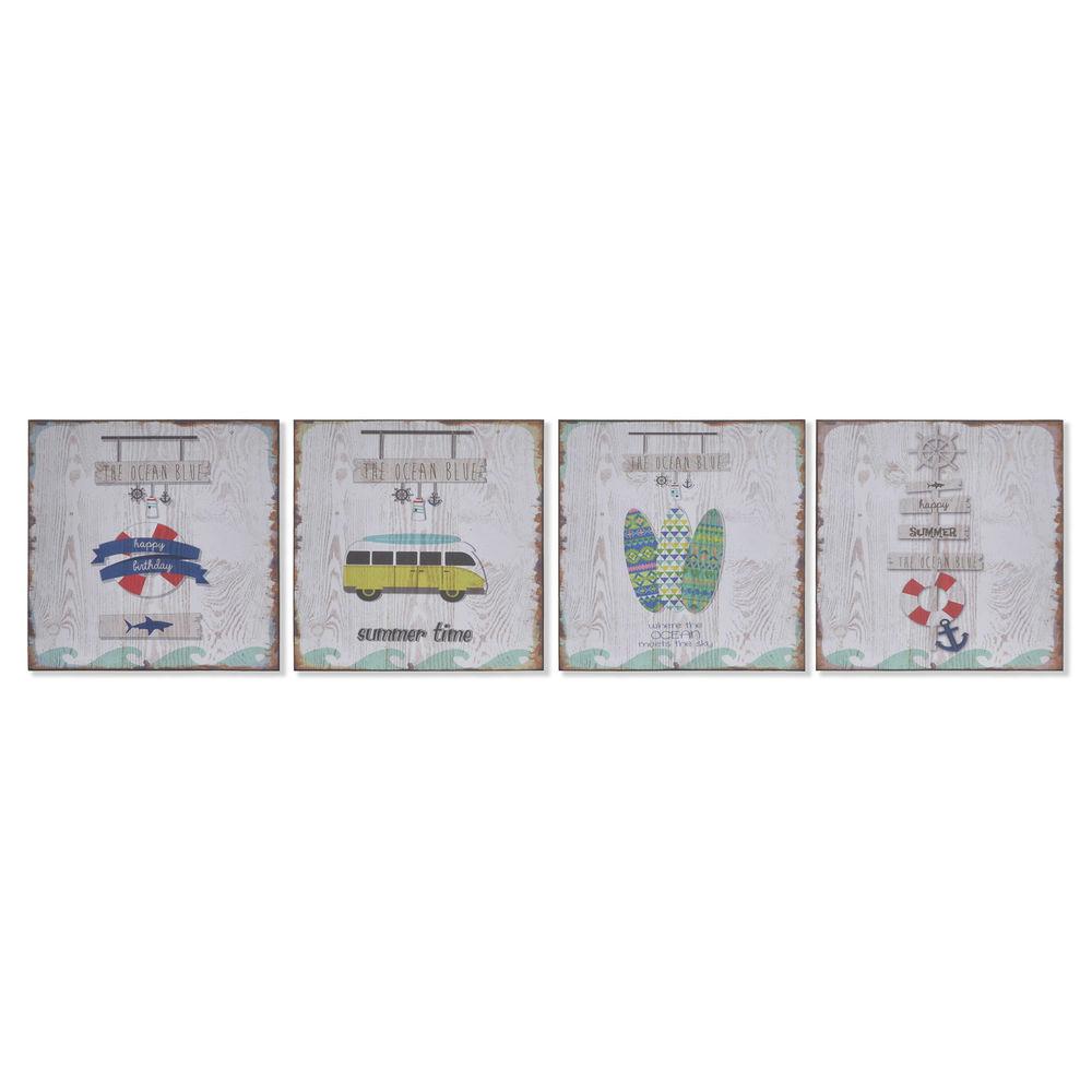 Lot de 4 cadres d'affiches Vacanza 25x25cm Multicolore