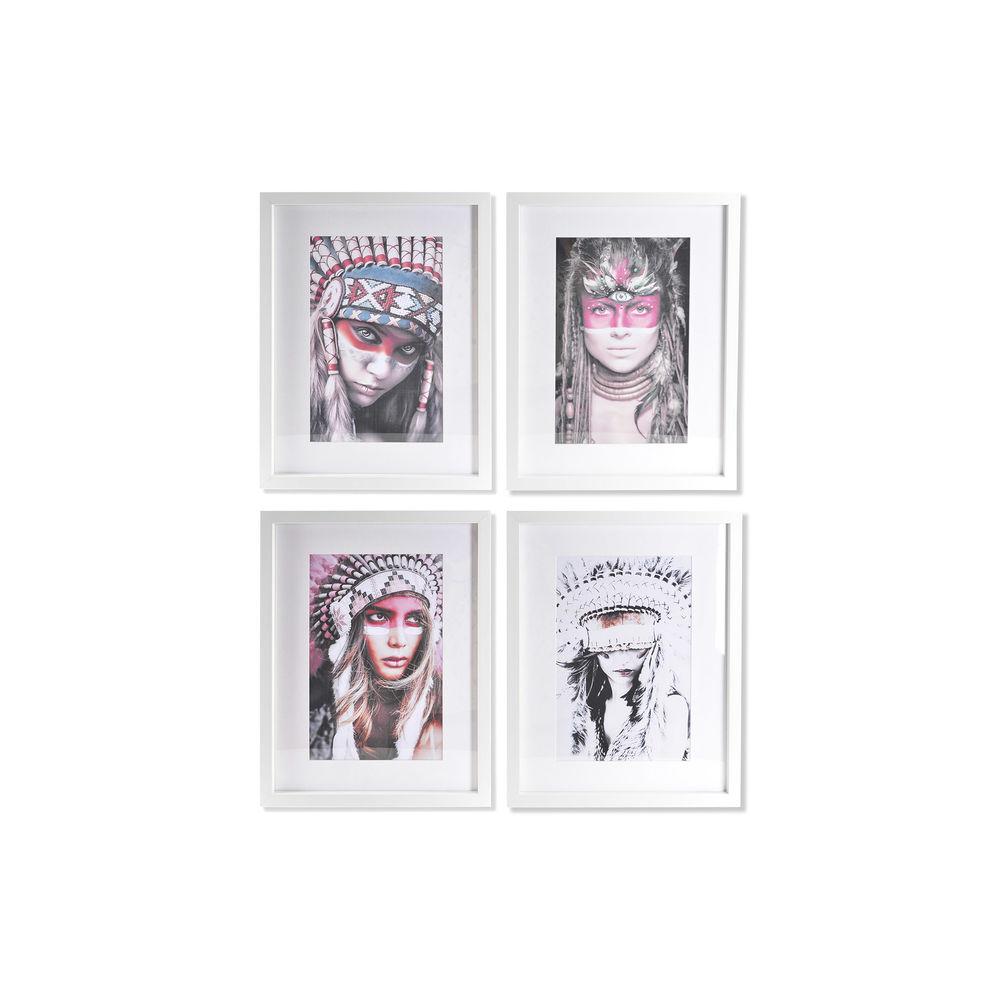 Lot de 4 cadres de toiles Siksika 35x45cm Style portrait Multicolore