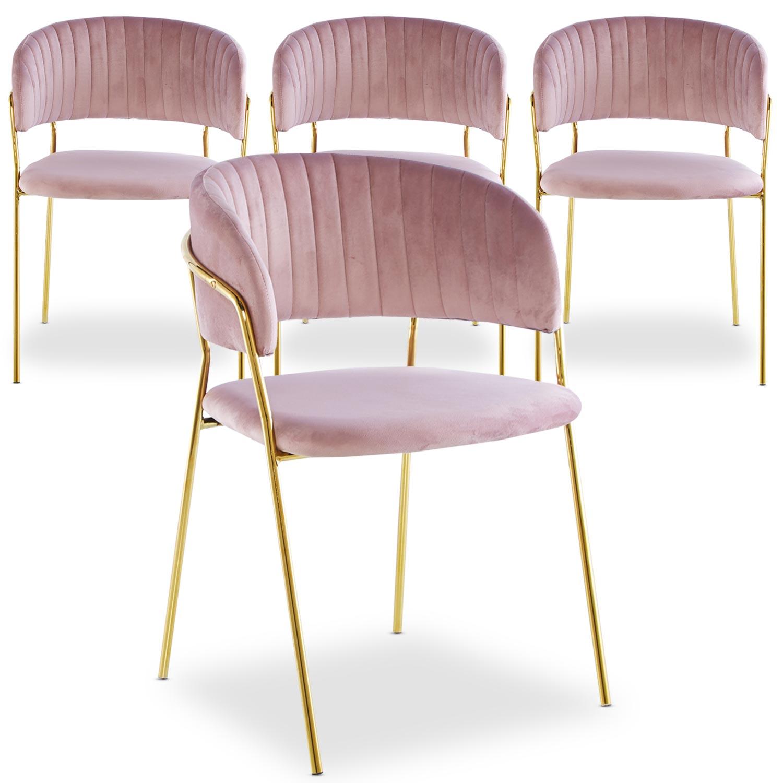 Set van 4 roze fluwelen Tabata stoelen