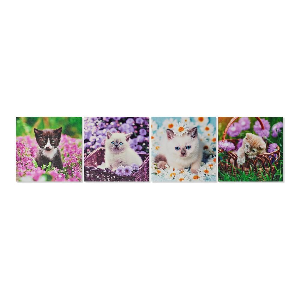 Lot de 4 toiles Chaton 28x28cm Multicolore