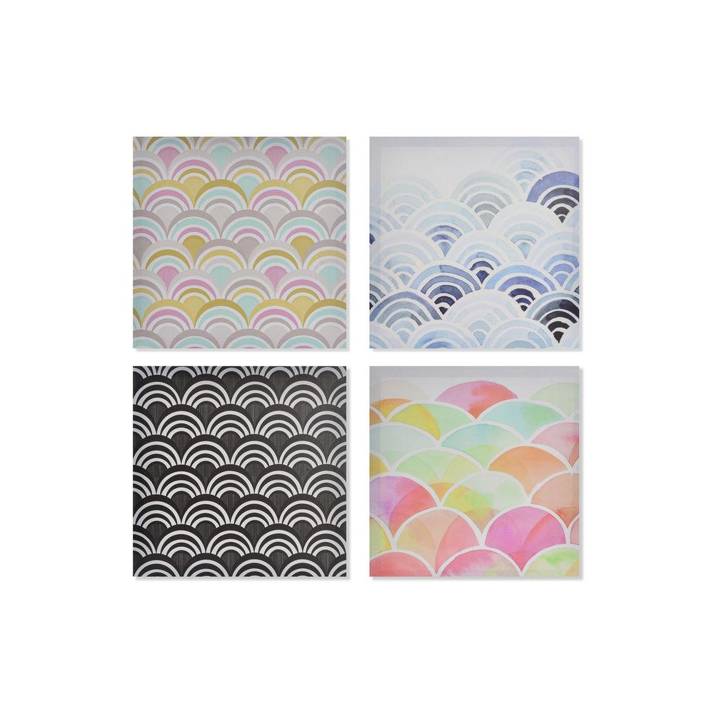 Lot de 4 toiles Onda 40x40cm Style Géométrique Multicolore