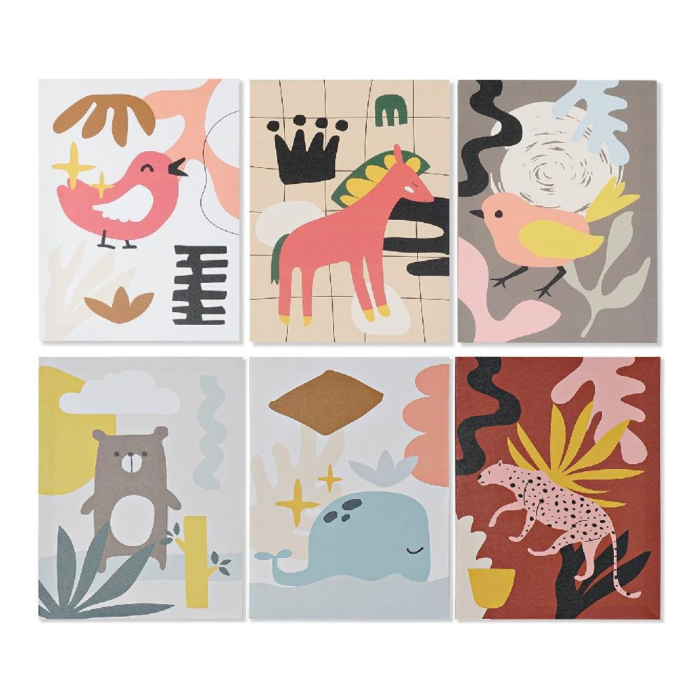 Lot de 6 toiles Cartoon 30x40cm Multicolore Animaux
