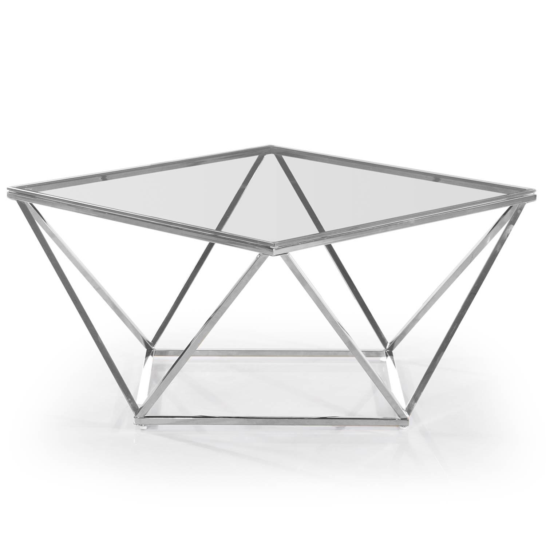 Louane salontafel in transparant glas en zilveren poten
