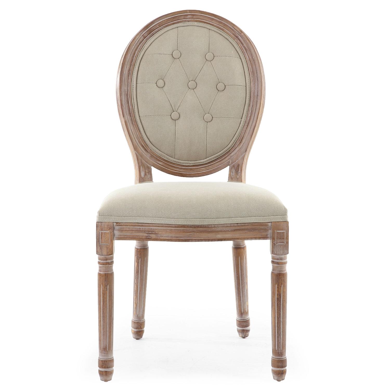 Lot van 2 Louis XVI-stoelen in medaillonstijl, gepatineerd hout en beige gewatteerde stof