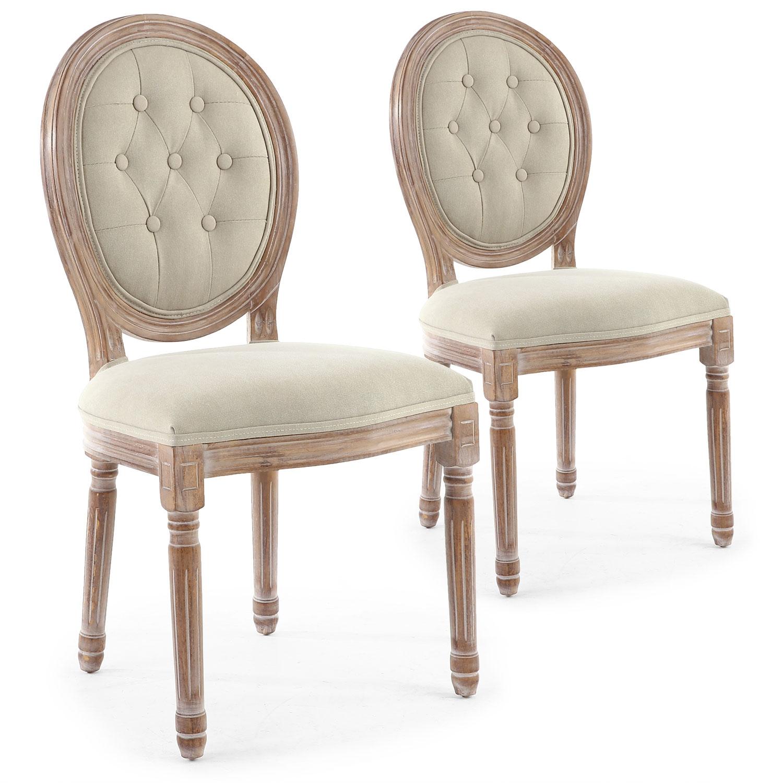 Lot de 2 chaises de style médaillon Louis XVI Bois patiné & Tissu capitonné beige