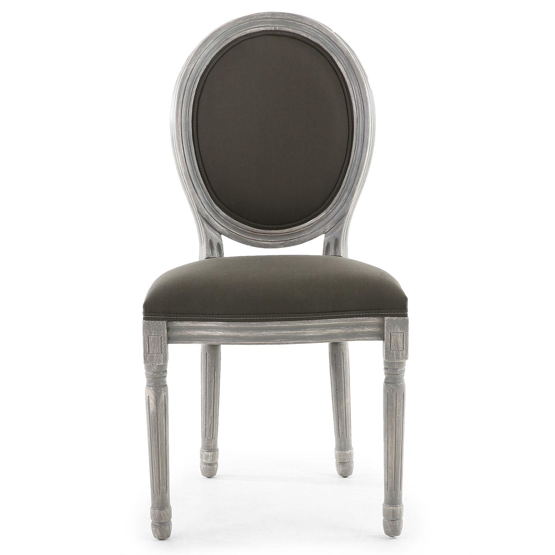Set van 2 stoelen in medaillonstijl in Louis XVI Grijs gepatineerd hout en grijze stof