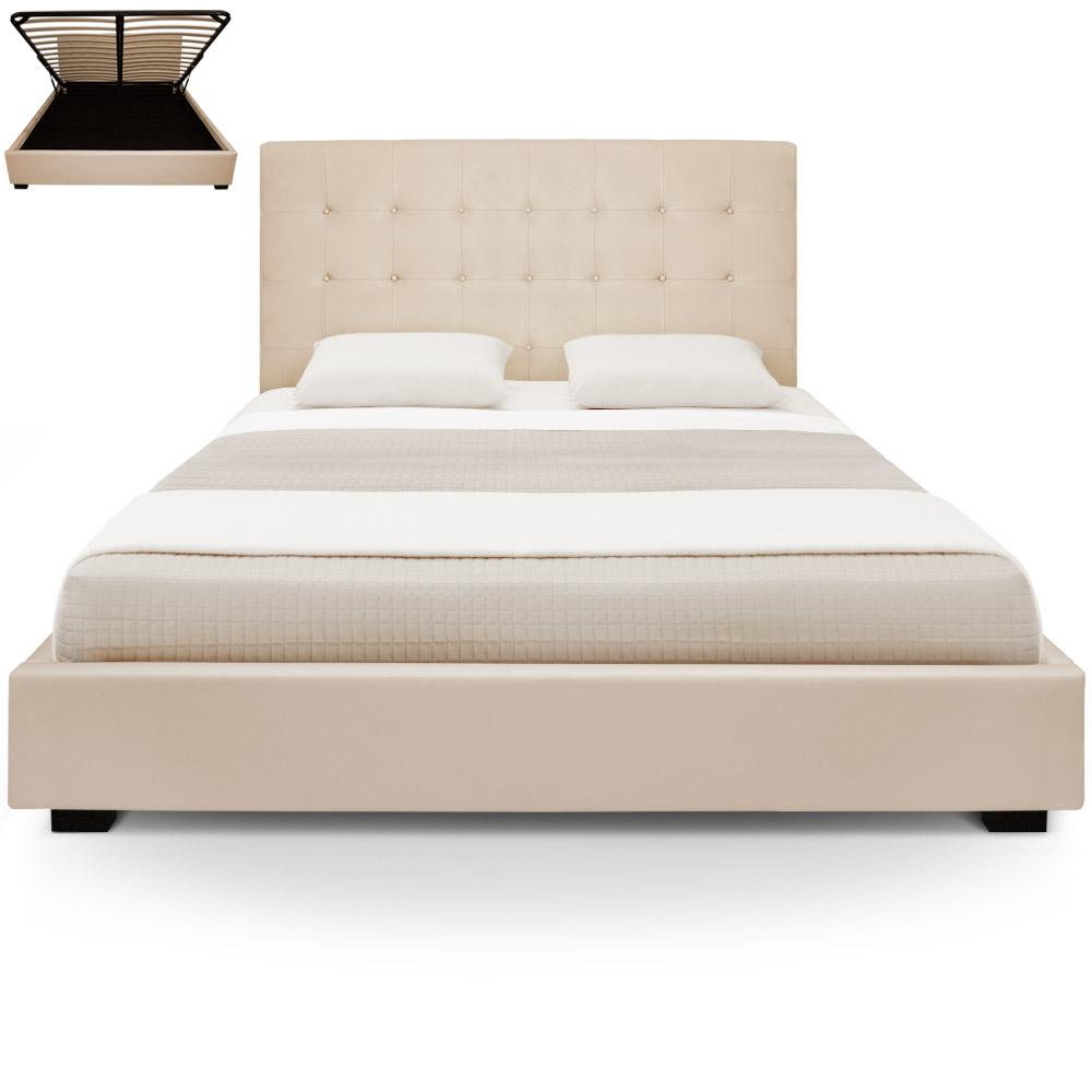 Structure de lit avec sommier et espace de rangement 180cm Trevene beige