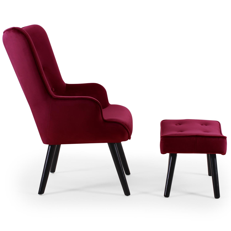 Scandinavische fauteuil + poef Lylou Velours Bordeaux