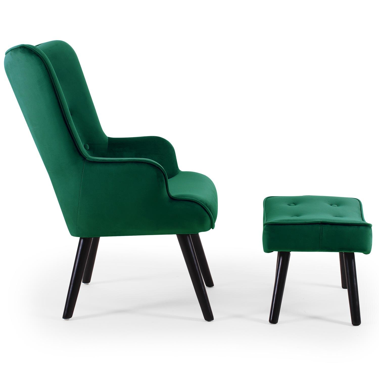 Scandinavische fauteuil + poef Lylou Groen Velvet