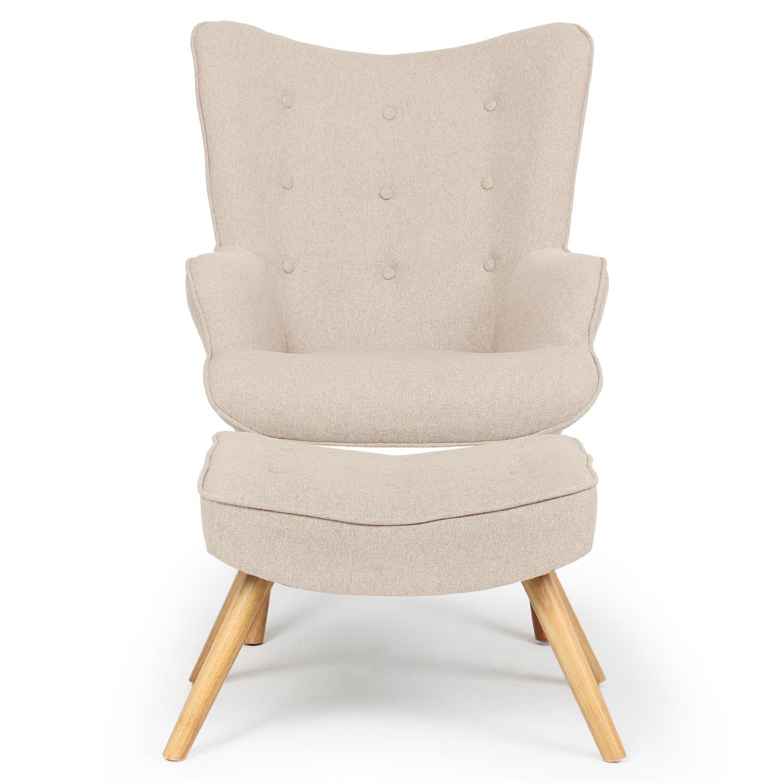 Scandinavische fauteuil + poef Lylou Beige Stof