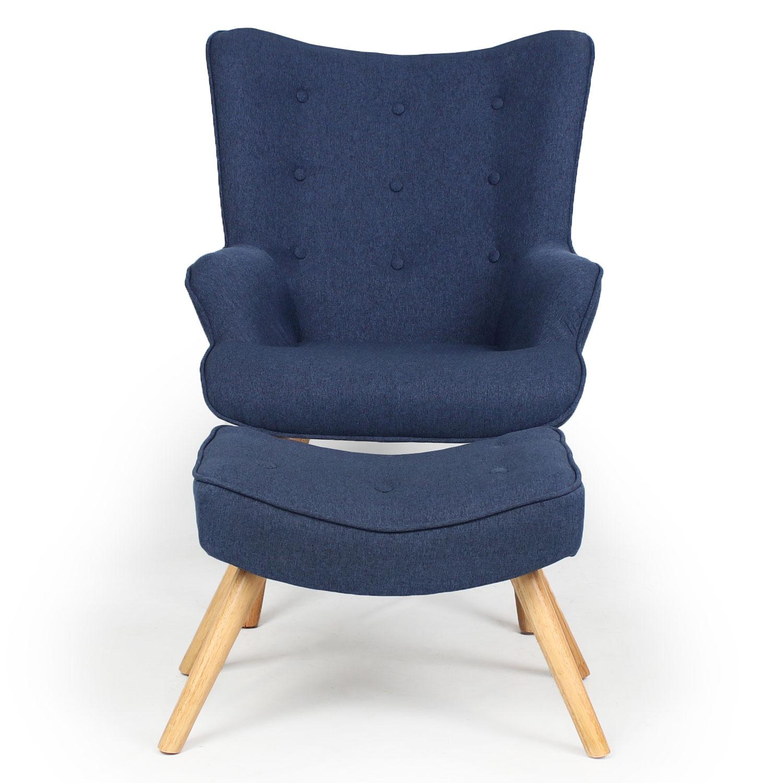 Scandinavische fauteuil + ottoman Lylou Blauw stof