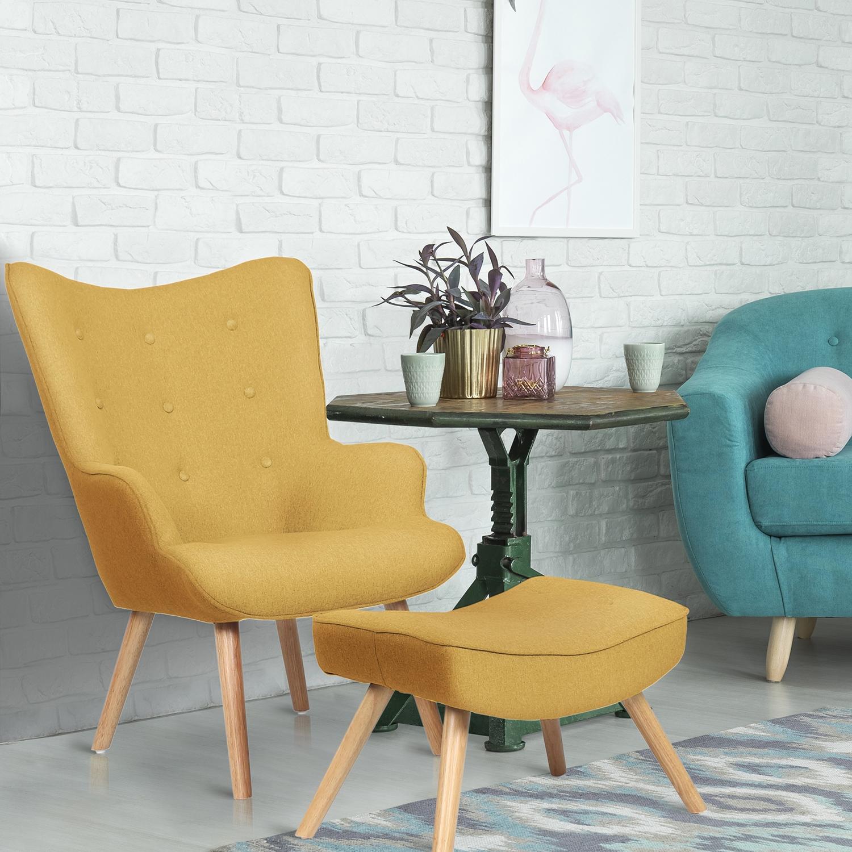 Scandinavische fauteuil + poef Lylou Geel Stof
