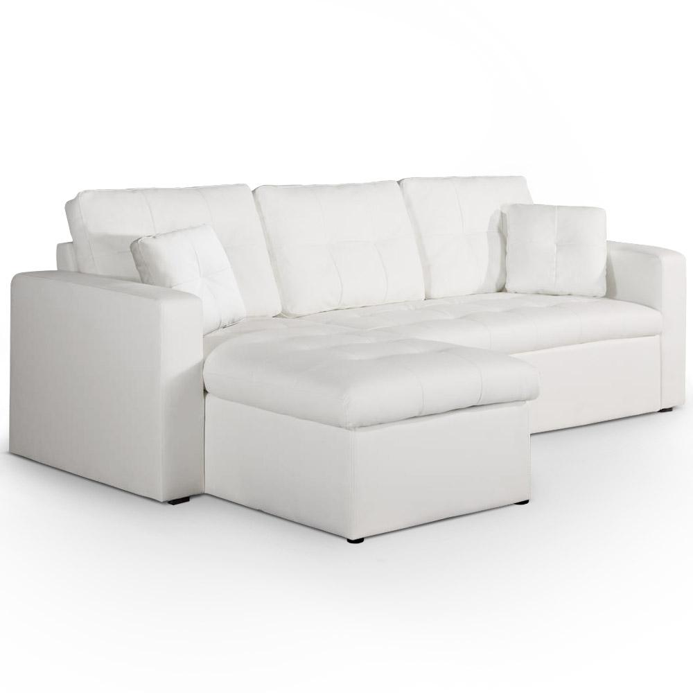 Canapé d'angle convertible blanc Toledo