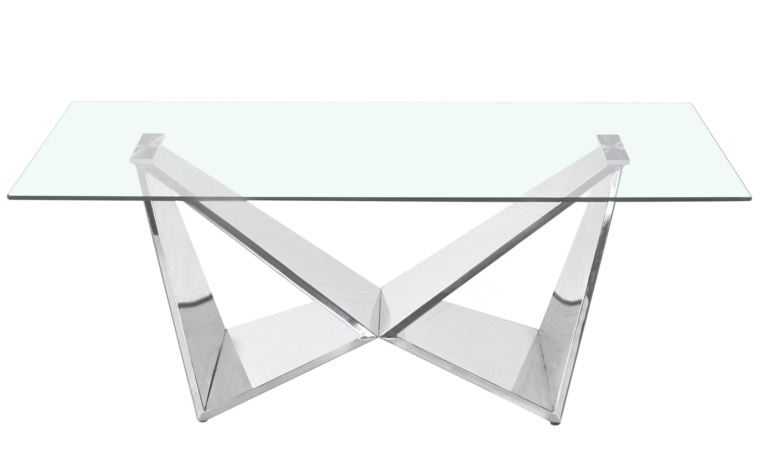 Mercury salontafel in helder glas en zilveren poten