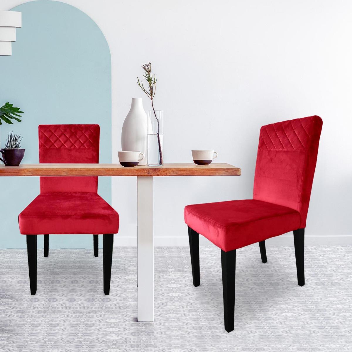 Set van 2 Milo rood fluwelen doorgestikte stoelen