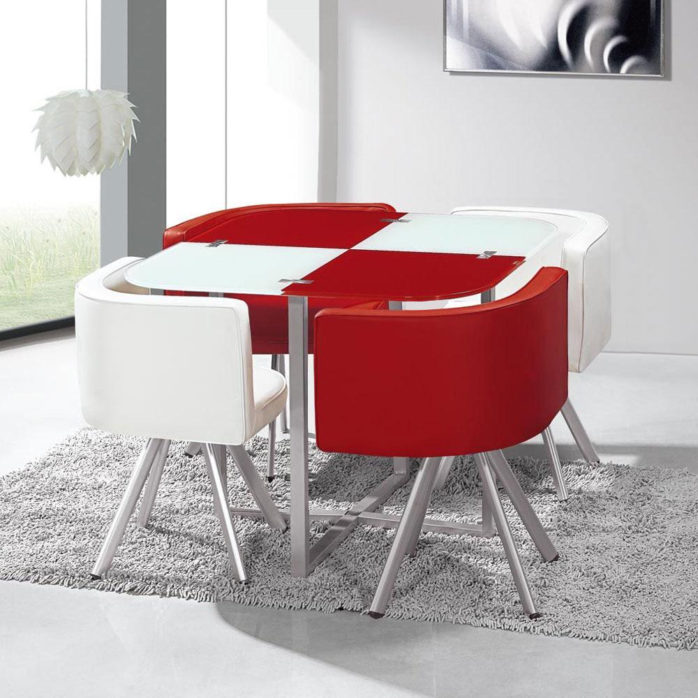 Mosaic 90 tafel en stoelen wit en rood