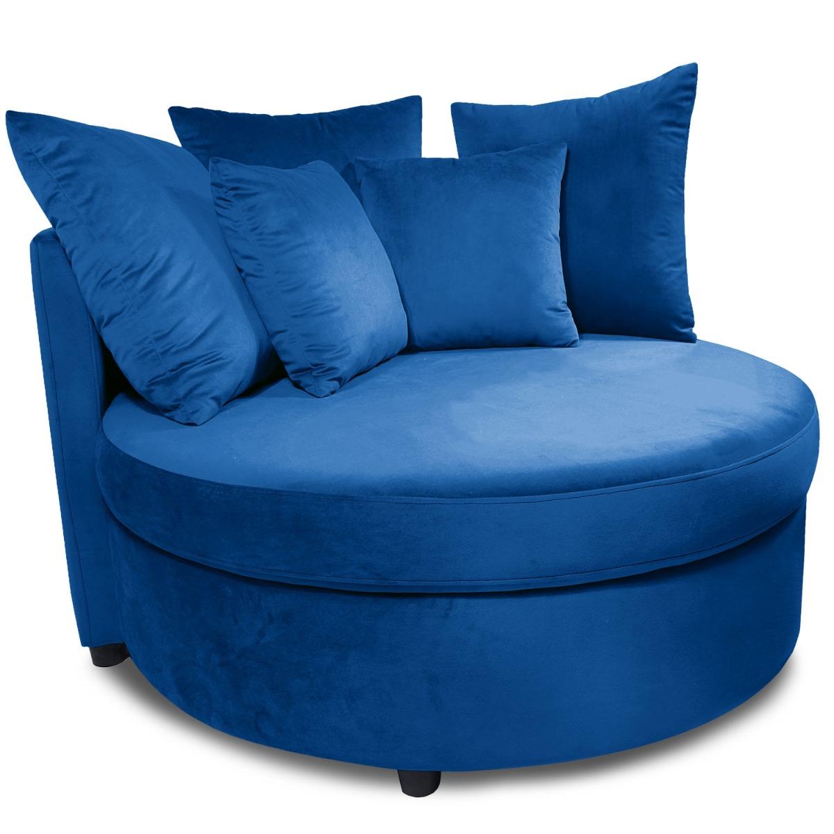 Fauteuil XXL Musso Velours Bleu