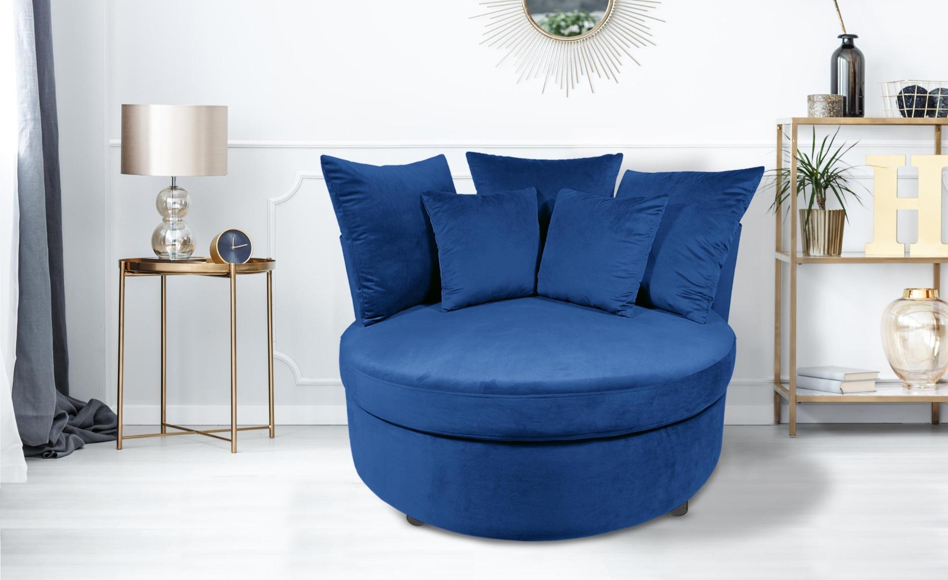 XXL Musso fauteuil van blauw fluweel