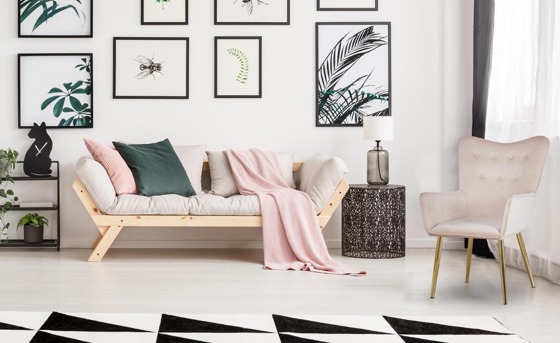 Nadol Scandinavische fauteuil van velours met roségouden poten