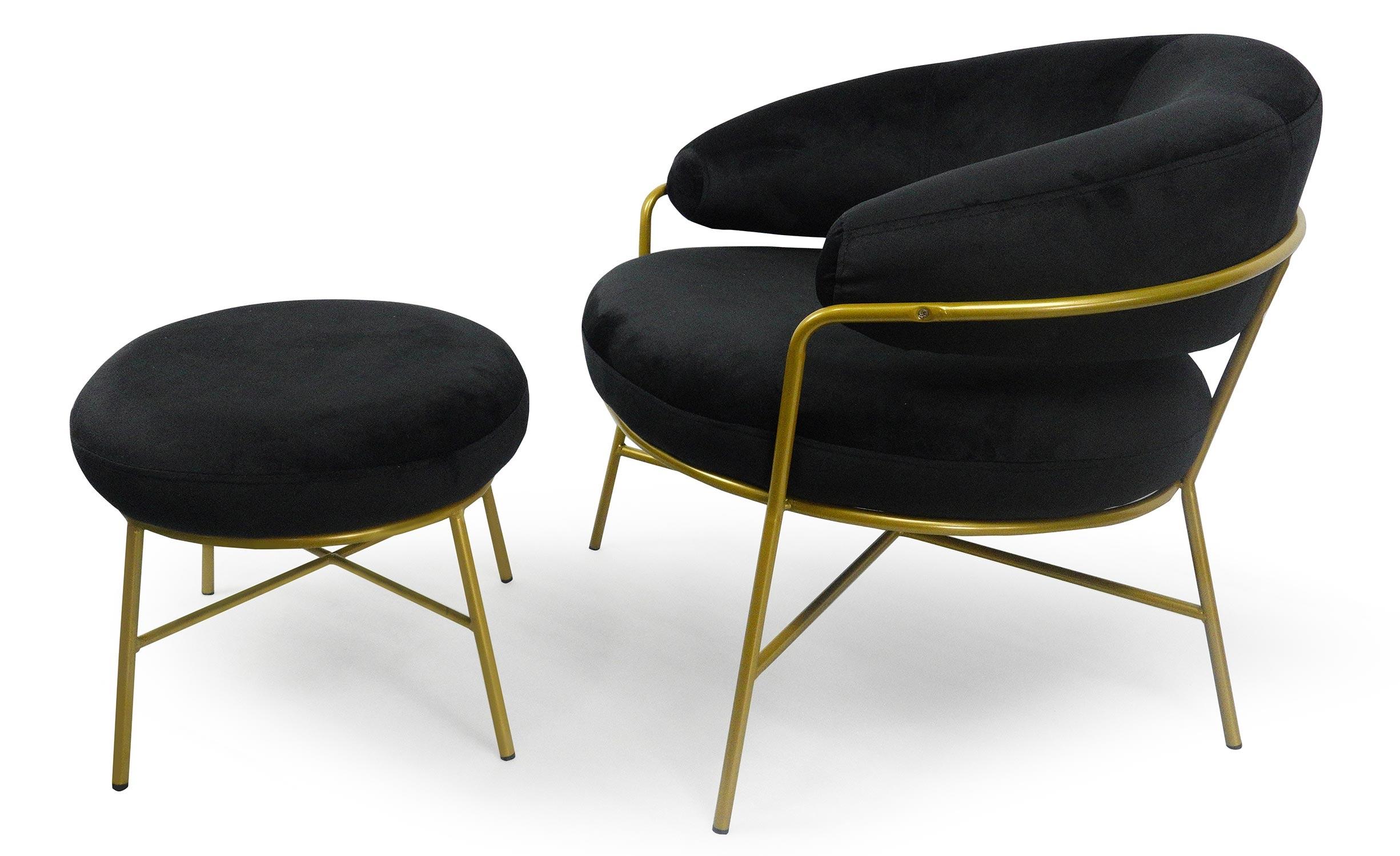 Nanty fauteuil + voetenbank zwart Velvet ottomaanse gouden voet